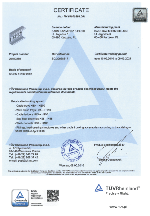 Certificate - Product Safety