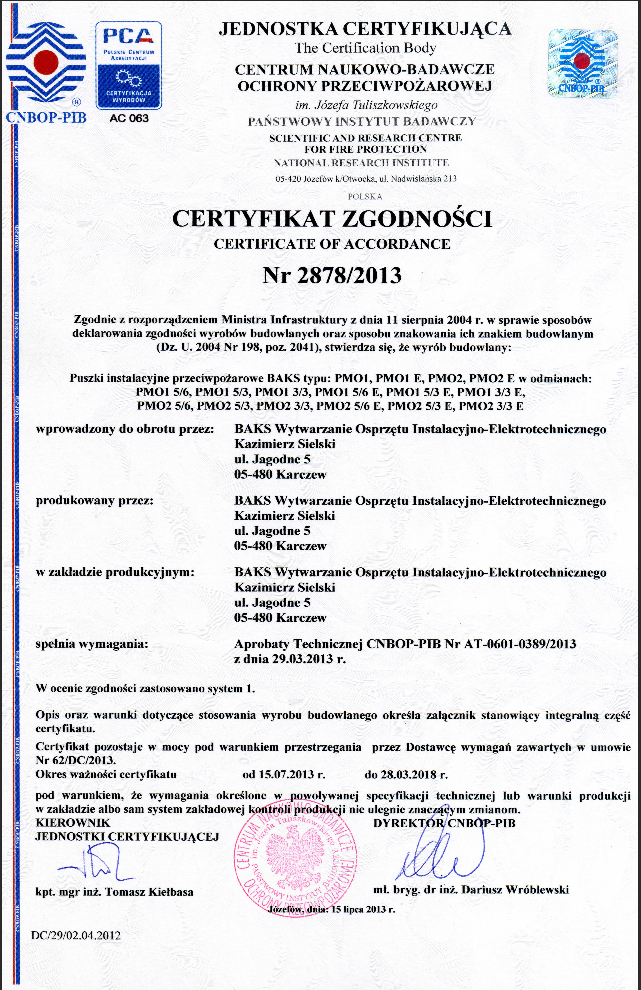 Certificate of Conformity E-90, No. 2878-2013-Boxes E90, issued by CNBOP