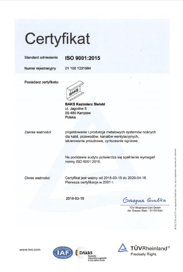 EN ISO 9001-2015 Certificate