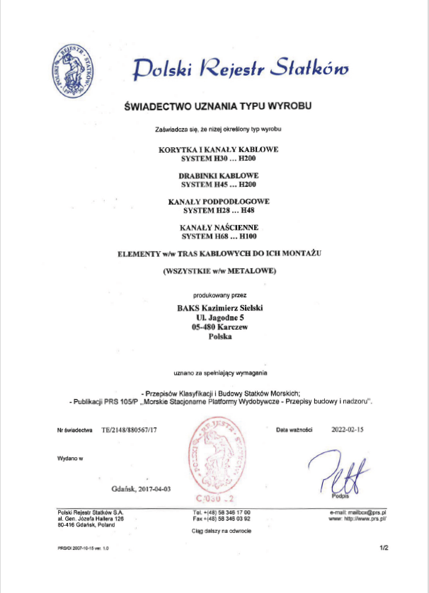 Certificate of approval of the product type