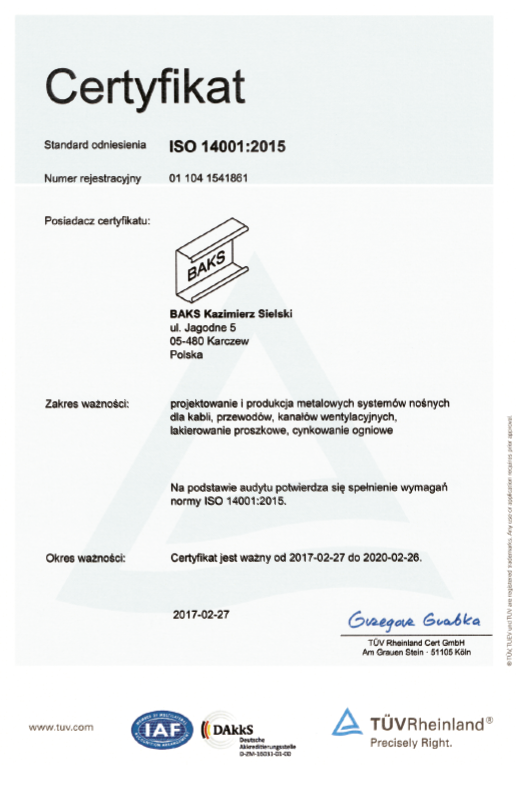 The certificate of environment management system